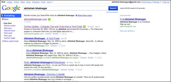 abhishek bhatnagar google search